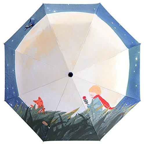 FakeFace Silber Coating Regenschirm Sonnenschirm 3 Faltbar Doppeldach 8 Rippen Manuell Öffnen UV-Schutz Schirm für Damen Herren Outdoor Camping Reise Alltag 108 CM
