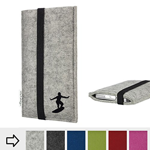 flat.design Handy Hülle Coimbra für Shift Shift6m individualisierbare Handytasche Filz Tasche fair Surfer Urlaub