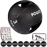 Medizinball mit Griffen Profi 3 - 10 kg von POWRX | schwarz Gewichtsball Studioqualität | schwarz...