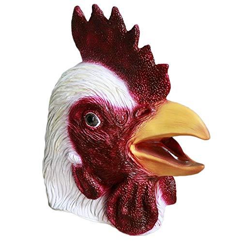 WSNGD Maschere per Animali di Pollo di Halloween Maschere realistiche in Lattice di Gallo Maschere per la Festa del Giorno del Ringraziamento della Testa Completa