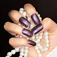 Drecode False Nails Bling Purple Sequins Acrylic Full Cover Fake Nails Fashion Party Clip on Nails for Women and Girls