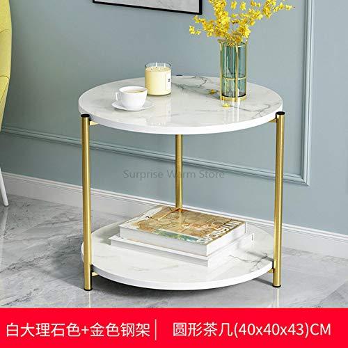 Nachtkastje LKU Gemarmerde salontafel woonkamer eenvoudige moderne kleine ronde tafel zijhoeken en lichte luxe, zoals foto 11