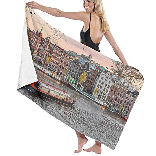 ABA Old European City Landscape Badetücher Amsterdam Niederlande Häuser Fluss Landmark Boot Bad/Beach/Pool/Spa Handtuch Mikrofaser Duschtücher 132 x 81 cm