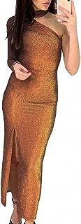 Best glitter one shoulder maxi dress Reviews