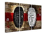 DECLINA - Cuadro de Pared Africano, Cuadro Decorativo, Lienzo de Pared, Cuadro triptico, Las Dos máscaras, 90 x 60 cm, Lona, Rojo, 120 x 80 cm