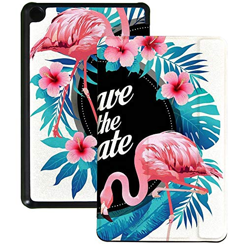 QIYI Slimshell Case Fits All-New Amazon Fire 7 Tablet (9th Generation, 2019 Release) Kids Protective Cover Adjustable Stand Smart Shell for Kindle 7 Inch Tablet - Flamingos & Flowers