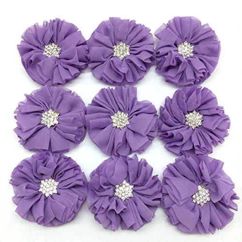 PEPPERLONELY 10PC Set Lavender Rhinestone Button Center Chiffon Fabric Flowers, 6.5cm(2-9/16 Inch)