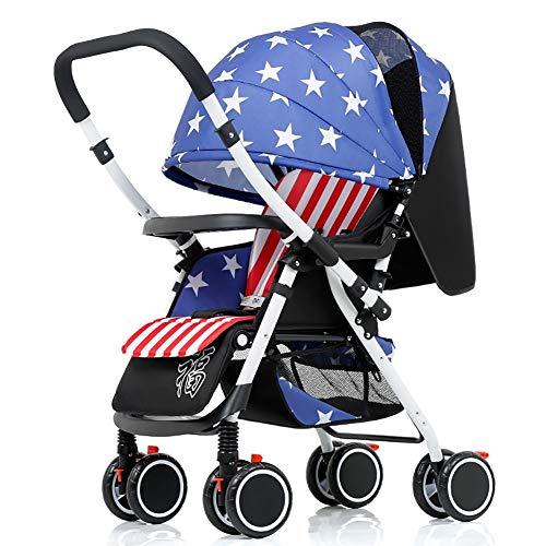 Carrito de bebé Cochecito de bebé, Ligero Plegable de 4 Ruedas Suspensión de manija Reversible Recién Nacido Trolley