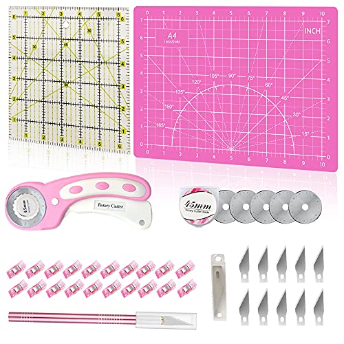 39 Pcs Rotary Cutter Set Pink - Quilting Kit incl. 45mm Fabric Cutter with 5 Extra Blades, A4 Cutting Mat, Craft Knife Set, Quilting Ruler and Sewing Clips, Ideal for Crafting, Sewing, Patchworking