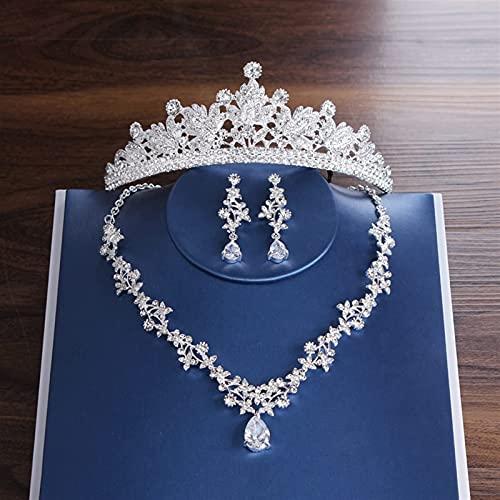 Tiaras nupciales de lujo Corona Hoja Conjuntos de joyas de boda Collares llamativos Conjunto de pendientes Accesorios para el cabello Conjunto de joyas de cuentas africanas (color de metal: Jue