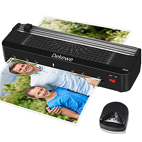 Laminator Machine, Dekewe A4 Laminating Machine, 4-in-1 Desktop Thermal Laminator with 18 Laminating Sheets & Built-in Paper Cutter Protractor and Corner Rounder for Home Office School Use - Black