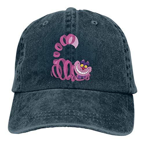 Linranshangmao Erwachsene Denim-Kappe Grinsekatze Unisex Verstellbare Mütze für Männer Frauen Gr. Einheitsgröße, navy