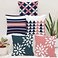 BRICK HOME Polyester Cushion Cover (16 x 16 Inches, Pink Blue) -Set of 5