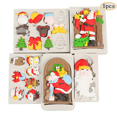 September- 5 STKS Kerstmis Siliconen Mallen Santa Mould Kerstmis Serie Moulds Kerst Zeep Cookie Mould Fondant Mold Chocolade Mould