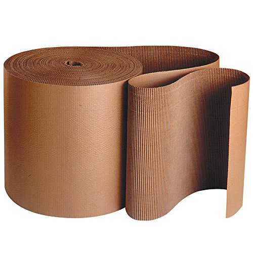 """Aviditi Corrugated Cardboard Roll, 24"""" x 250', Single Face, A-Flute, Kraft, Flexible Wrap for Protecting Glass, Metal and Other Fragile Items from Scratches, Chips or Breaks, 1 Roll -  SF24"""
