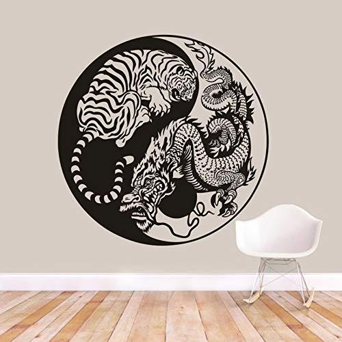 Levensechte Draak en Koude Tijger Verwijderbare Muursticker Aziatische Mythologie Stijl Muurposter Art Muurdecoratie Woonkamer Muursticker 57x57CM Kleur: wit