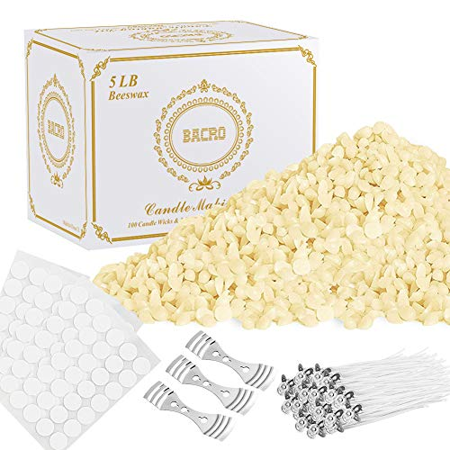 BACRO Natural Beeswax for DIY Candle Making Kit Supplies  5 lb Bag of Beeswax Flakes w/ 100 5Inch Cotton Wicks 3 Metal Centering Devices 100 Candle Wick Stickers