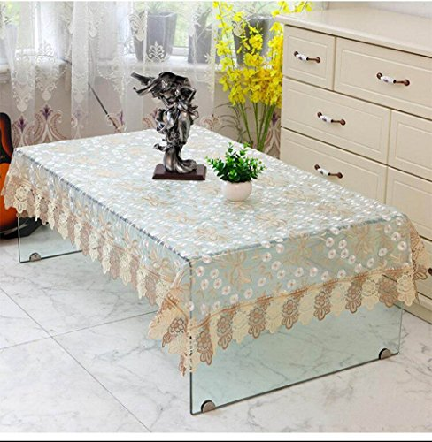 TABLECLOTH kant thee tafel rond tafelkleed, restaurant banket rechthoekig tafelkleed TV koelkast bloemenstandaard plaats doek (kleur: E, grootte : 150cm)