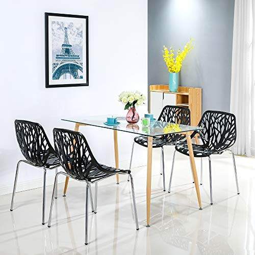 Bonnlo Modern Stackable Chair Set of 4 Kitchen Black Dining Chair Birch Sapling Comfy Chairs for Indoor Use (Black)