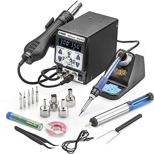 X-Tronic's • State-of-the-Art • 6040-PRO Hot Air Rework Soldering Station - Incomparable New Features: Digital Temp Calibration, C/F Display, 0-30 Min Sleep, Hot Air Auto/Manual, Hot/Cool Conversion