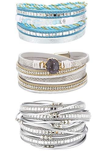 Finrezio 3 Stück Leder Mehrreihig Armband für Damen Mädchen Armbänder Set Glitzerarmband Breit mit Magnet-Verschluss Style A