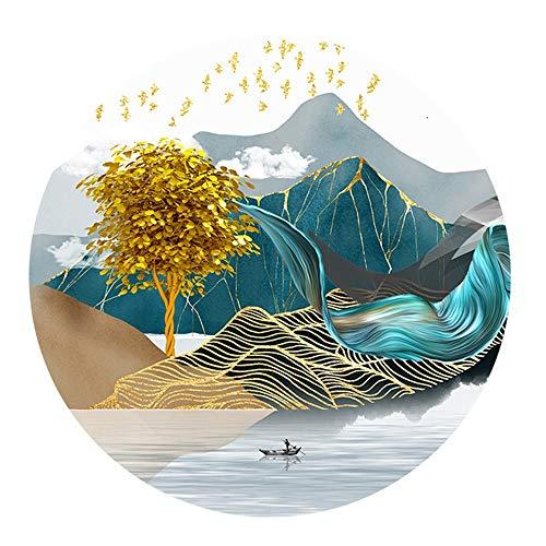 No logo LPLHJD Mural Alpine See in einem Boot und kreative Linie Muster Kristall Porzellan Wandgemälde Wohnzimmer Wandbild 60 * 60cm Hängendes Bild