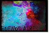Buenos Aires, Argentina Diseño original del mapa 'Colourboo' - Foto Póster Afiche Art Print Regalo Map - Dimensiones: 30 x 20cm