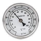 NITRIP Termómetro de olla,Termómetro de olla de acero inoxidable NPT de 1/2'Termómetro de esfera metálica para preparar cerveza