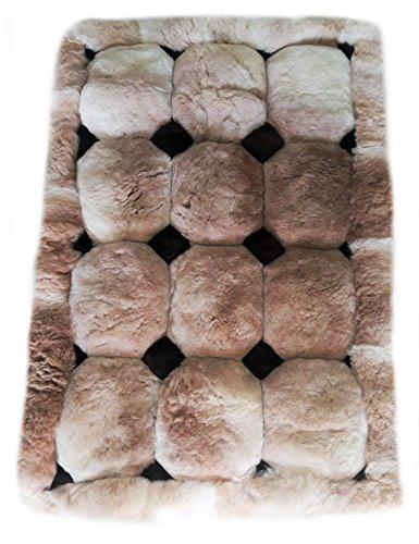 Alpacaandmore brauner peruanischer Alpaka Fellteppich Rauten Design Verschiedene Größen (150x110...