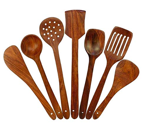 Amaze Shoppee Wooden Spoon Set of 7 | 2 Frying, 1 Serving, 1 Spatula, 1 Chapati Spoon, 1 Desert, 1 Rice