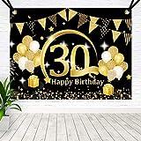 BOYATONG 30. Geburtstag Dekoration Schwarz Gold, Extra