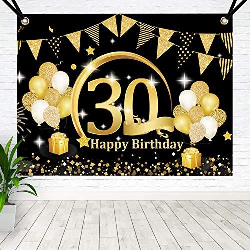 BOYATONG 30. Geburtstag Dekoration Schwarz Gold, Extra Große Stoff Schild Poster zum 30. Jahrestag Foto Stand Hintergrund Banner, 30 Jahre Geburtstag Party Lieferung für Frau Mann