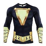 COOLMAX Shazam 3D Print T Shirt Men's Compression Shirt (XX-Large, Black)