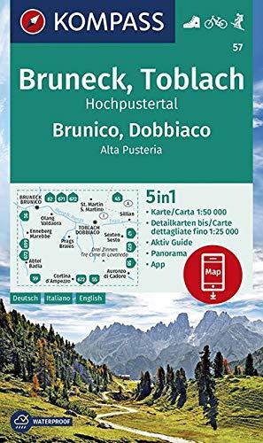 Carta escursionistica n. 57. Brunico, Dobbiaco 1:50.000: 5in1 Wanderkarte 1:50 000 mit Aktiv Guide, Detailkarten und Panorama inklusive Karte zur ... in der KOMPASS-App. Fahrradfahren. Skitouren.