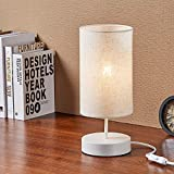 Keymit 3 Way Dimmable Table Lamp, A19 8W Nightstand Lamp for Bedroom Living Room, White Bedside Lamps, A19 8W LED Filament Bulb Included