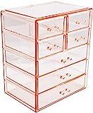 Sorbus - Estuche de almacenamiento estilo vitrina para maquillaje y joyas, elegante, estuche de baño, Rosado, 3 Large, 4 Small Drawers