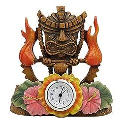 Ebros Gift Tropical Colorful Polynesia Tiki Fire Goddess Pele Bedside Table Desktop Clock Figurine 7 Tall Volcano Lightning Wind Deity of Hawaii Sculpture Decorative Clocks Accent