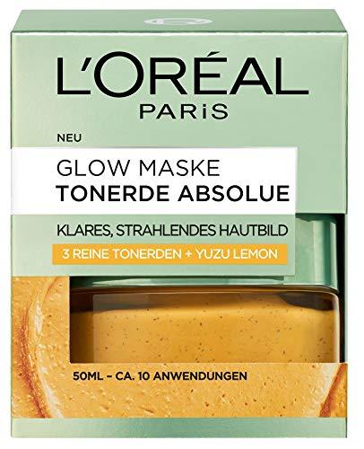 L'Oréal Paris Tonerde Absolue Glow Maske, Gesichtsmaske mit reiner Tonerde und Yuzu Lemon, reinigt die Haut intensiv für ein klares und strahlendes Hautbild, 50ml
