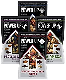 Power Up Trail Mix Variety Pack (8 individual snack bags) Protein Packed, Antioxidant Mix, Almond Cranberry Crunch, Mega Omega
