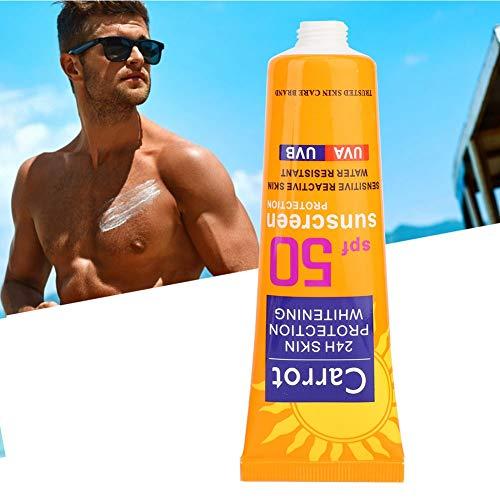 Crema de protección solar hidratante, protección solar de verano para el rostro y el cuerpo, protección solar blanqueadora UV de larga duración, SPF 50+, 50 g [caroteno], crema solar de protección sol