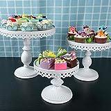 fllyingu Porte-gâteaux, présentoir à gâteaux en métal, Assiette à gâteau Ronde pour Mariage, célébration de fête d'anniversaire, fête de Naissance, Blanc