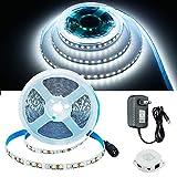 JOYLIT Motion Sensor LED Light Strip White, SMD2835 600LEDs 16.4ft Auto On Off 12V LED Strip Kit with Power Supply, PIR Sensing 6000K Bright Daylight Tape Lights for Closet, Bed,Under Cabinet Lighting