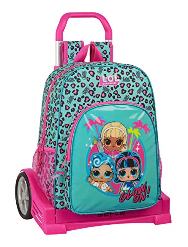 Safta 612047860 Mochila con carro ruedas Evolution, Trolley Lol, 330x140x420 mm, Turquesa/Rosa