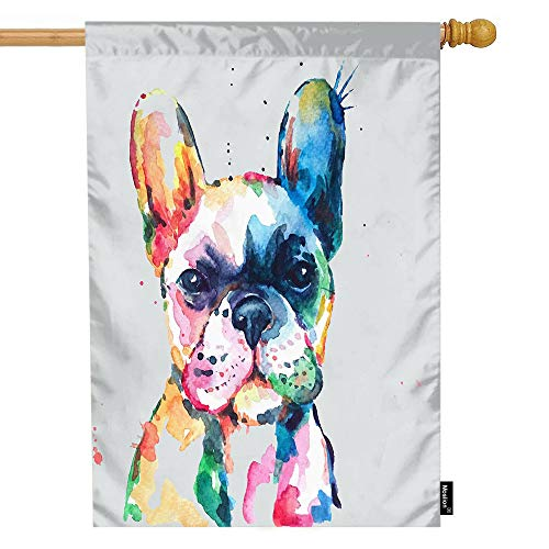Moslion House Flag Watercolor French Bulldog Hand Drawn Paint Puppy Funny Animal Cute Lovely Pet Summer House Flag Decorative Outdoor House Flags Double-Sided Cotton Linen 28x40 Inch