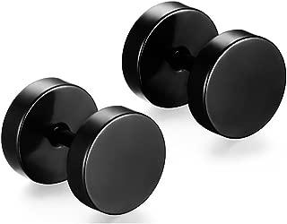 Xusamss Punk Rock Round Titanium Steel Stud Earrings