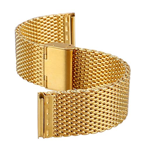 JWWLLT 20 mm 22 mm Malla Flexible de Oro Banda de Acero Inoxidable para Hombres Mujeres Relojes Reemplazo Tejido Correa de Metal Pulsera Muñeca Brazalete (Band Color : 22mm)
