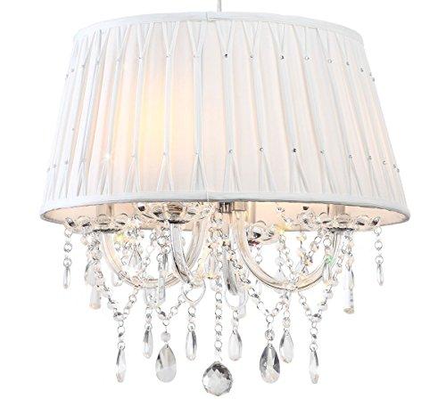 Lampadario cristallo tavolo da pranzo lustra alla moda luce paralume neve-bianco vetro diamante 4 bracci Lewima Aretta