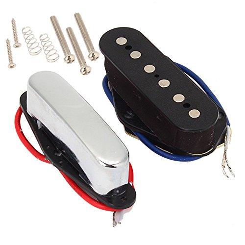 Yibuy2本セットブラックエレキギター弦テレブリッジ/ネックピックアップセラミック磁石