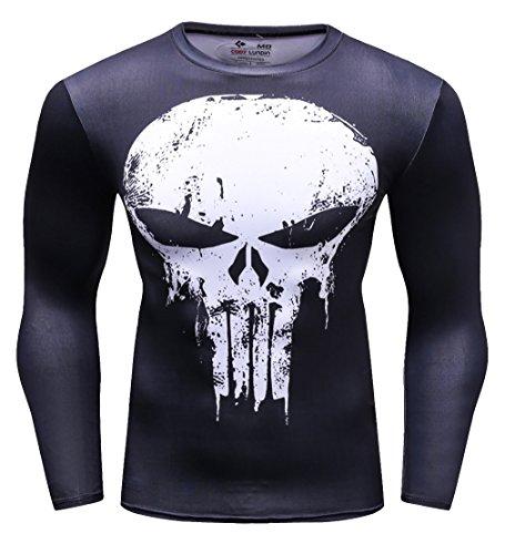 Cody Lundin Männer Anti-Held Fitness T-Shirt Männer Kompression Laufen Bewegung Training Langarm Shirt Herren Skull T-Shirt gedruckt (XL, Black-White)