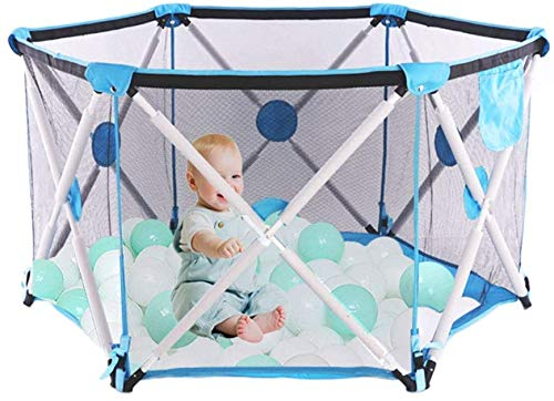 Arkmiido Baby Playpen Portable Activity Center Play Yard Indoor Outdoor Safety Barrier Balls Pit Base Toddlers Game Toy Fence for Kids Crawling Playground (Blue)